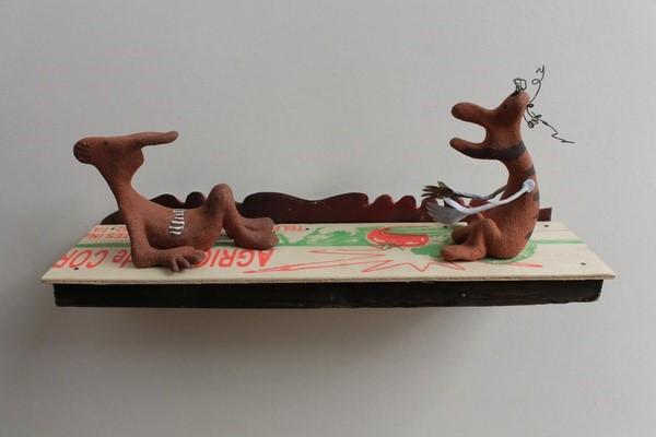 Tomato Pickers , tin, clay & wood  11x28x7cm